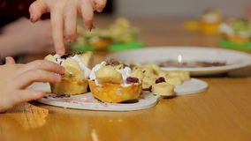 Assorted fruit on wooden board. Fruits on plate on wooden surface. Bananas, apples , pineapple, oranges. Assorted fruits on the plate. Flat lay. Vegan. Healthy stock video footage