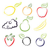 Assorted Fruits. Composition of Simplified Fruits Icons Royalty Free Stock Photography