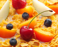 Assorted Fruits on cornflakes Royalty Free Stock Photos