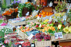 Assorted fruits on a fruit market Stock Image