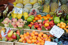 Assorted fruits on a fruit market Stock Images