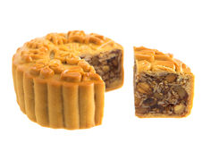 assorted fruits nuts mooncakes Royalty Free Stock Images