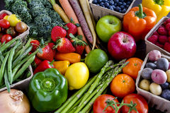 Assorted Fruits and Vegetables Background Royalty Free Stock Images