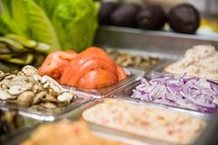 Assorted fruits and vegtables for making salads. And sandwiches royalty free stock photo
