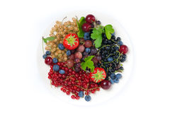 Assorted Garden Berries On A Plate, Top View, Isolated Stock Images