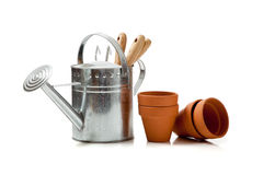 Assorted gardening supplies on a white background Stock Photography
