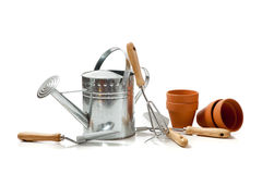 Assorted gardening supplies on a white background Stock Photos