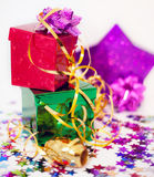 Assorted gift boxes and ribbon Stock Photo
