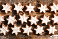 Assorted gingerbread cookie. On wood royalty free stock image