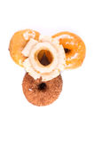 Assorted glazed and frosted donuts Stock Images