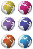 Assorted globe icons. An assortment of colourful globe icons Stock Photos