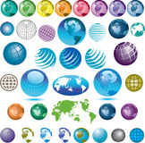Assorted globe icons. An assortment of colourful globe icons Royalty Free Stock Photo