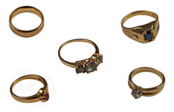 Assorted gold rings Stock Photo