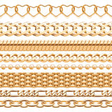Assorted golden chains on white background. Royalty Free Stock Photo