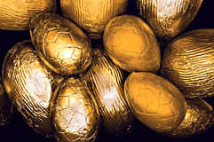 Assorted  golden easter eggs Royalty Free Stock Photo