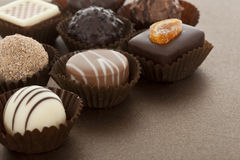 Assorted gourmet chocolate bonbons Royalty Free Stock Image