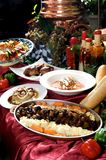 Assorted gourmet entrees on display table Royalty Free Stock Image