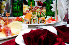 Assorted gourmet sushi rolls on a buffet Royalty Free Stock Images
