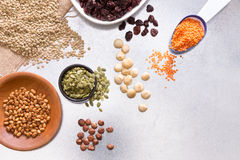 Assorted grains, dried fruit and nuts Royalty Free Stock Photos