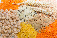 Assorted grains with wheat ears. Royalty Free Stock Photography