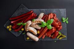 Assorted a grillé et a rôti la saucisse Photos libres de droits