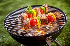 Assorted grilled meat with vegetable on a grill stock photography