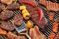 Assorted Grilled Meat With Vegetable On The Hot BBQ Grill Stock Images
