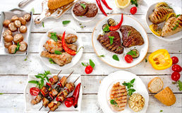 Assorted grilled meats and vegetables Stock Photography