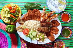 Assorted grilled seafood in Mexico tequila chili Royalty Free Stock Photos