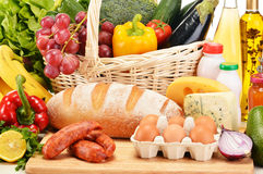 Assorted grocery products including vegetables fruits wine bread Royalty Free Stock Photography