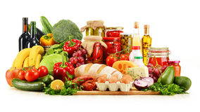Assorted grocery products on white Royalty Free Stock Images