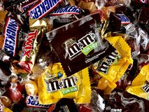 Halloween candy. Assorted Halloween candies filling the frame royalty free stock images