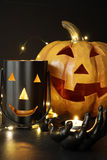 Assorted Halloween candles with pumpkin Royalty Free Stock Photography