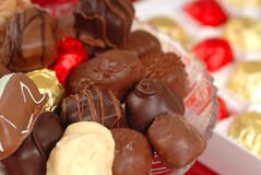 Assorted hand dipped chocolates Royalty Free Stock Photos