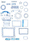 Assorted hand-drawn web graphics elements doodles royalty free illustration