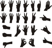 Assorted Hand Signals. Gesture hand silhouette - black on white vector. Assorted hand silhouettes. Signals including ok, counting(1-2-3-4-5), call me, gun Stock Photo
