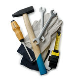 Assorted Hand Tools and Gloves on White Background Royalty Free Stock Photography
