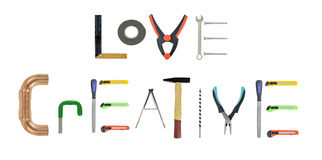Assorted hand-tools on white stock images