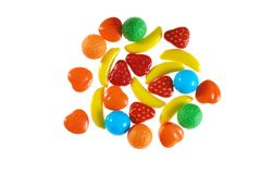 Assorted hard fruit candy. Isolated assorted hard fruit candy on white background royalty free stock images