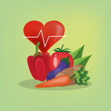 Assorted healthy food and heart cardiogram icons image Royalty Free Stock Images