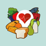 Assorted healthy food and heart cardiogram icons image Royalty Free Stock Photography