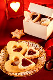 Assorted heart shaped cookies for Valentine theme stock image