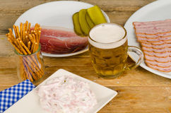 Assorted hearty snacks, Bavarian cuisine Stock Photo