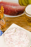 Assorted hearty snacks, German cuisine Royalty Free Stock Photography