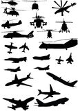Assorted helicopter and airplane silhouettes Stock Image