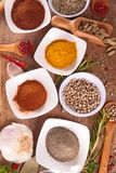 Assorted herb and spice. Top view stock photo