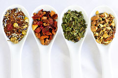 Assorted herbal wellness dry tea in spoons Royalty Free Stock Photos