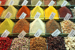 Assorted herbs and spices. In market Royalty Free Stock Photography