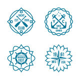 Assorted Hipster Logos on White Background Stock Photos