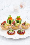 Assorted holiday mini appetizers, vertical Royalty Free Stock Photo